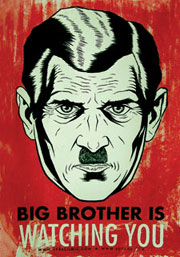 portrait de Big brother avec la phrase : big brother is watching you
